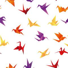 Foto op Plexiglas Geometrische dieren seamless paper bird background
