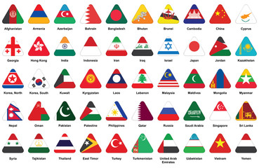 set of triangle icons with Asian flags