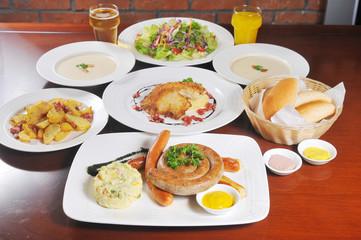 German sausage food - bread and salad
