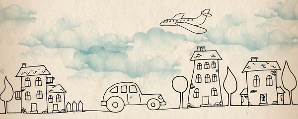 Cartoon city and airplane