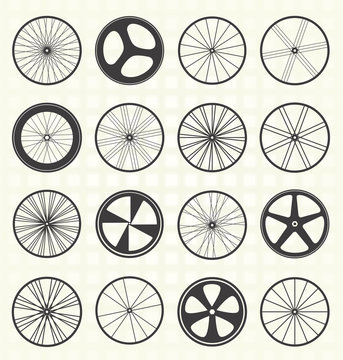 Vector Set: Bike Wheel Silhouettes