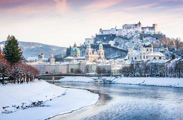 Salzburg skyline with river Salzach in winter, Austria