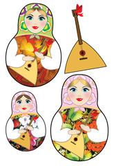 Russian dolls and balalaika on a white background