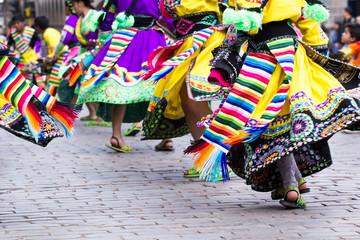 Fotorolgordijn Zuid-Amerika land Peruvian dancers at the parade in Cusco.