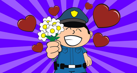 policeman kid cartoon background5