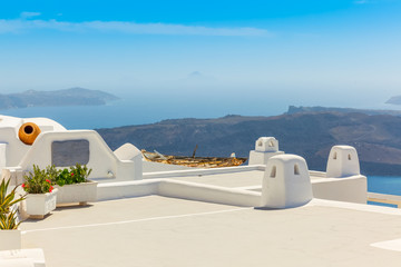 Greece Santorini island in Cyclades, traditional detail sights o