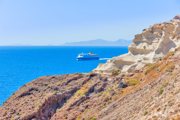 Wall Mural - Greece Santorini island in Cyclades,Panoramic view of caldera se