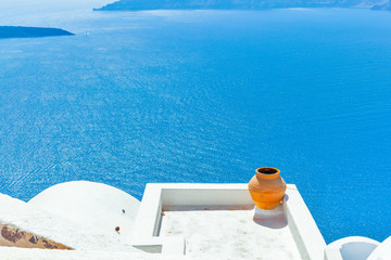 Fototapete - Greece Santorini island in Cyclades,Panoramic view of caldera se