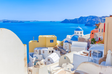 Fototapete - Greece Santorini island in Cyclades,wide view of white orthodox