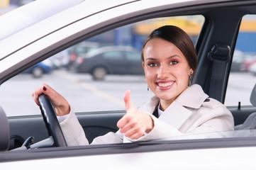 happy woman driver