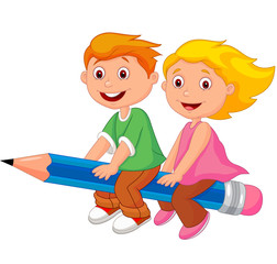 Boy and girl flying on a pencil
