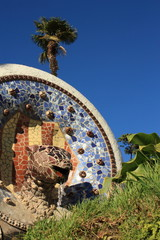 Park Guell in Barcelona, Catalonia, Spain.