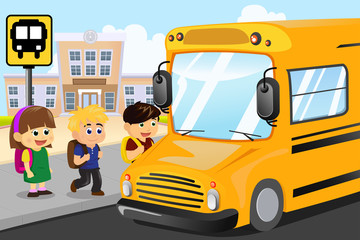 Kids waiting to get on a school bus