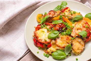 Roasted vegetables on plate