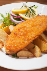 Breaded fish steak
