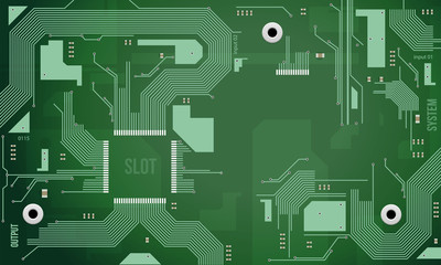 Printed Circuit Board Vector Background Green