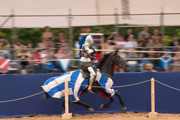Medieval knight on a horse on the joust. Wall mural