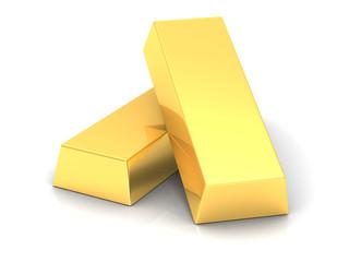 gold bars  on white background