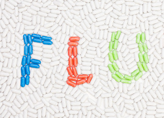 Flu text made of pills