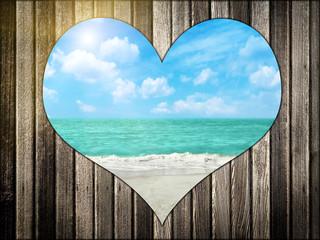Papiers peints Affiche vintage Love Beach