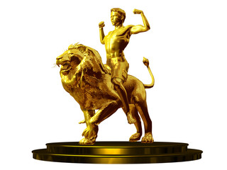 champ, golden figurine of  young man riding a lion