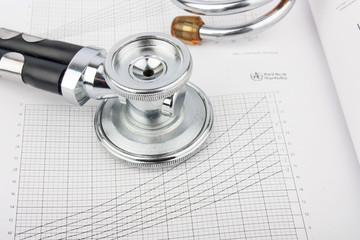 Metallic stethoscope on medical record with schedules,