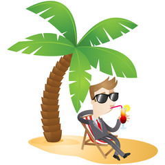 Businessman, beach, vacation, cocktail, relaxing