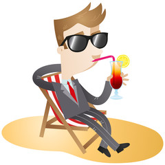 Businessman, vacation, cocktail, relaxing
