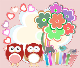 Background with cute owls, heart, flower and birds