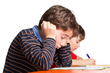 Schüler / Junge ist in der Schule überfordert