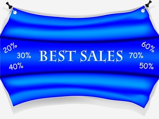 Banner best sales and discounts - blue vector