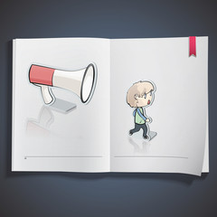 Kids and megaphone printed on white book,