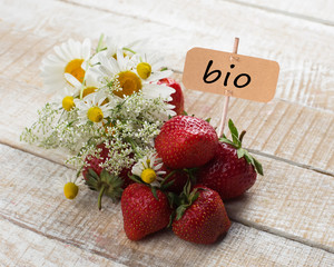 Fresh strawberry. Tag with word bio.
