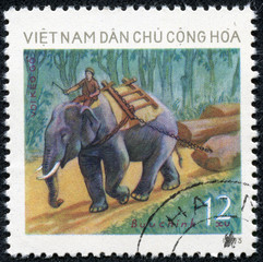 stamp printed in Vietnam and shows man on elephant outside