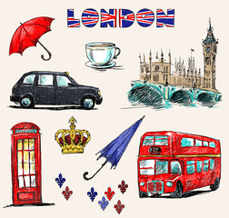 Papiers peints Doodle London symbols. Set of drawings.