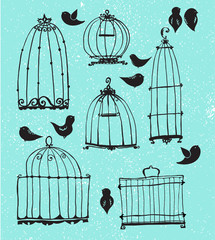 Recess Fitting Birds in cages Set of doodle cages and little birds