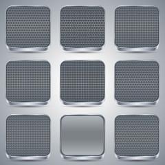 Metallic buttons vector set