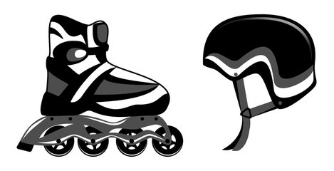 Roller skates and helmet