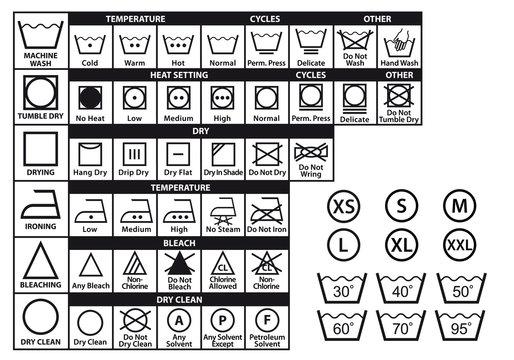 textile care symbols, vector set