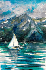 Sailboat on lake  watercolor painted.