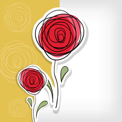 Floral background with abstract roses