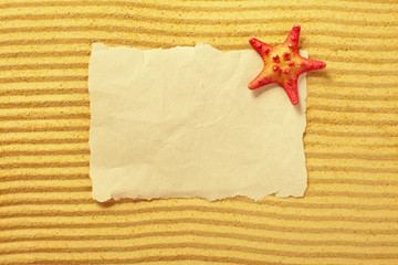Paper and starfish lying on the sand