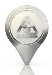 baby on board sign on a chrome map marker