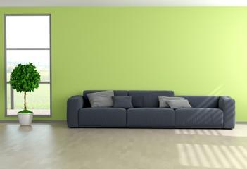 Couch mit grüner Wand