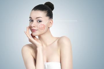 Beautiful brunette woman portrait - skin care concept