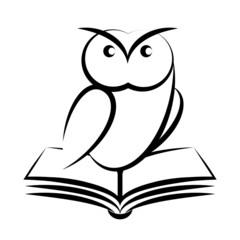 Cartoon of owl and book - symbol of wisdom
