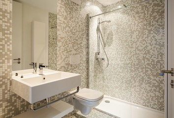 Interior new house, view modern bathroom Wall mural