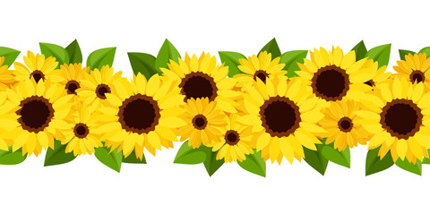 Horizontal seamless background with sunflowers and calendula.