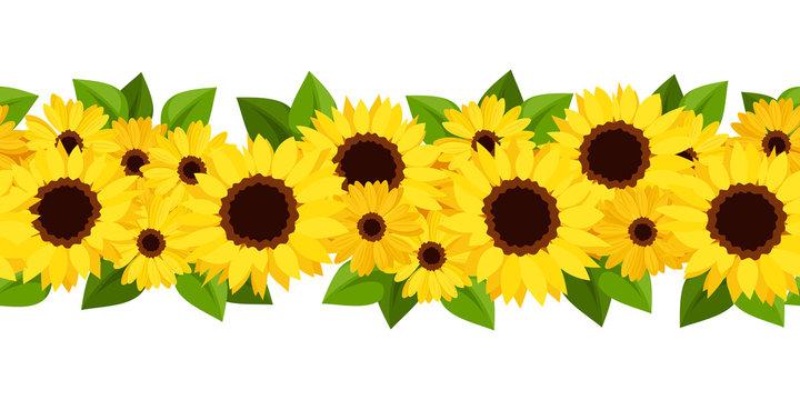 Horizontal seamless background with sunflowers and calendula.