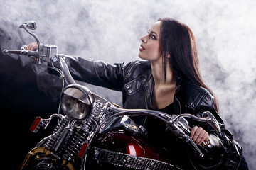 Young woman on the motorcycle